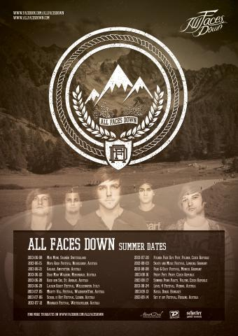 All Faces Down - Summer Dates 2013 Flyer